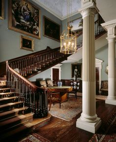 The Staircase Hall at Saltram House, Plympton, Plymouth, England. The house that can be seen today is the work of Robert Adam, who altered the original Tudor house on two occasions.