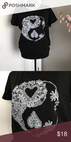 NWOT Black Ying Yang Heart Tshirt Target Fifth Sun Brand new without tags- never worn. Fifth Sun Tops Tees - Short Sleeve