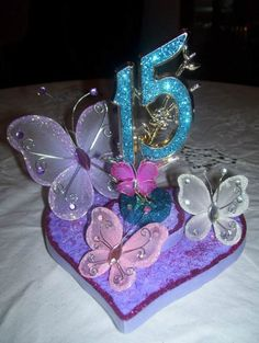 Love this for a graduation party Quinceanera Centerpieces, Quinceanera Decorations, Quinceanera Party, Butterfly Centerpieces, Birthday Centerpieces, Butterfly Birthday Party, Butterfly Wedding, 15th Birthday, Birthday Parties