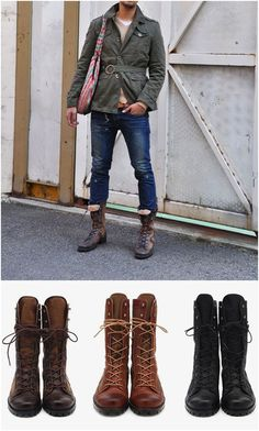 Shoes :: Buffalo Skin Mix Walker Boots - 25 - New and Stylish - Fast Mens Fashion - Mens Clothing - Product