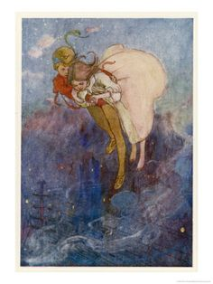 Peter Pan and Wendy Float Away Over the City Giclee Print by Alice B. Woodward at Art.com, nursery for boy