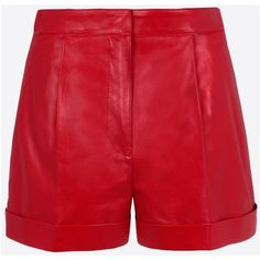 Valentino Skirts and Pants (€2.375) ❤ liked on Polyvore featuring shorts, red leather shorts, studded shorts, studded leather shorts, pleated shorts and red shorts