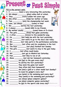 Present or Past Simple worksheet - Free ESL printable worksheets made by teachers English Grammar Exercises, Teaching English Grammar, English Worksheets For Kids, English Lessons For Kids, English Activities, English Language Learning, English Vocabulary, French Lessons, German Language