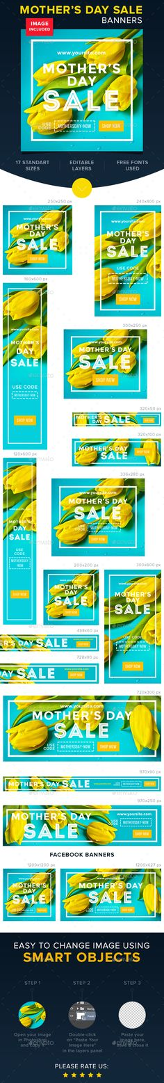 Mother's Day Sale Banners — Photoshop PSD #woman #shop • Available here → https://graphicriver.net/item/mothers-day-sale-banners-/15696188?ref=pxcr