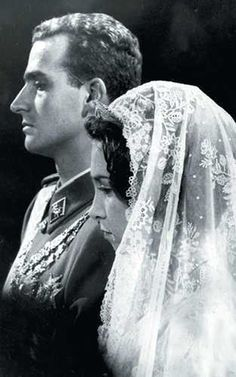 King Juan Carlos and Queen Sofia wedding on their wedding day