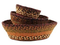 Country Style Black, Rust, Cream, Burnt Orange, Green, Brown Jute Bowl Set/3 13x4.5; 10x3.5; 7x2.5""