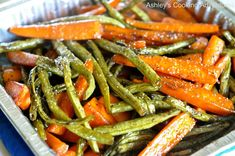Ashley's Cooking Adventures: Honey Balsamic Glazed Roasted Carrots and Green Beans (Gluten Free) Balsamic Glazed Carrots, Balsamic Green Beans, Honey Balsamic Glaze, Roasted Carrots, Roasted Vegetables, Veggies, Balsamic Vinegar, Honey Garlic Green Beans, Grilled Green Beans