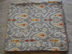 Queen Ikat Kantha Quilt Blanket - Cotton Quilted Bedspreads,Throws,Ralli,Gudari Handmade Tapestery REVERSIBLE Bedding