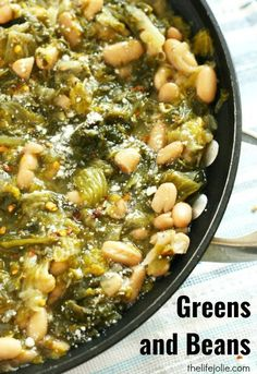 Greens and Beans is one of my favorite Italian recipes. It's quick and easy to mak e, tastes delicious and is very healthy! Made with escarole and beans it is easy cheap to make and is a great Meatless Monday option. Bean Recipes, Side Dish Recipes, Soup Recipes, Vegetarian Recipes, Dinner Recipes, Cooking Recipes, Healthy Recipes, Fast Recipes, Recipes Using Beans