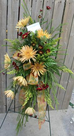 Standing floral swag with spider mums