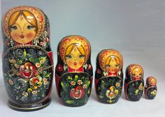 Zhostovo Floral Girl 5 Piece Russian Handcrafted Wooden Nesting Doll