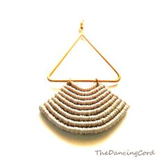 Macrame earrings with brass wire Pendant by TheDancingCord