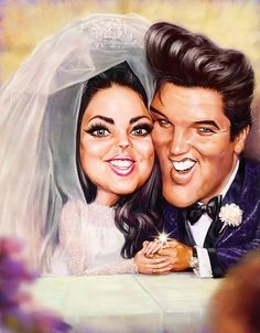 Caricature of Elvis and Priscilla Presley wedding photo. Priscilla Presley Wedding, Elvis And Priscilla, Elvis Presley, Caricature Artist, Caricature Drawing, Drawing Art, Funny Caricatures, Celebrity Caricatures, Celebrity Drawings