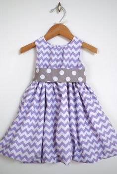 Chevron Bubble Dress, Polka Dots, Lavender Purple Grey, Modern Girls Clothing, Birthday, Special Occasions, Photos, Holidays, Size 3 Mo-6 on Etsy, $45.00