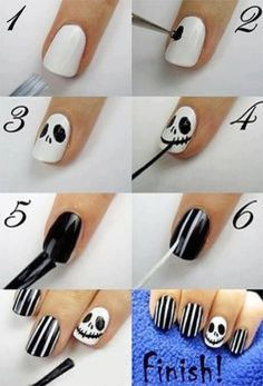 Nightmare Before Christmas Jack Skellington nails for Halloween.fun for Halloween Holiday Nail Designs, Nail Art Designs, Nails Design, Disney Nail Designs, Acrylic Nail Designs, Henna Designs, Nail Art Halloween, Halloween Jack, Halloween Ideas
