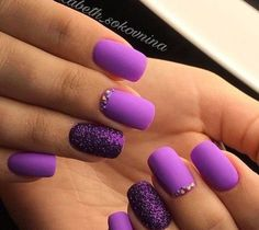 Bright fashion nails Ideas of violet nails Long nails Nails ideas 2018 Nails trends 2018 Nails with rhinestones ideas Purple nails with sparkles Summer nails 2018 Purple Nail Art, Purple Nail Designs, Matte Purple Nails, Bright Nail Designs, Trendy Nails, Cute Nails, My Nails, Long Nails, Short Nails