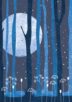 Illustrations by Jankiewicz Studio - Polish folk tales #night #forest