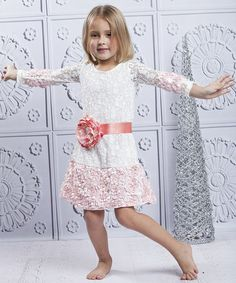 Take a look at this Crème & Pink Rosette Skirt Drop-Waist Dress - Toddler & Girls by Mia Belle Baby on #zulily today!