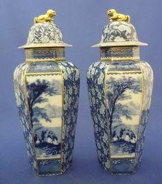 Antique Garniture Urns of  Flow Blue English Transferware and Chintz  Hexagon Shape