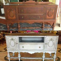 Repurposed and refinished antique buffet. This gorgeous piece was in rough shape. The client wanted it turned into a media console and painted in French gray. The top drawer was removed and new shelf built for electronics. #repurposed #refinishedfurniture #chalkpaintedfurniture #chalkpaint #antiques #interiordesign #custompainted