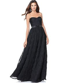 Adrianna Papell Petite Dress, Strapless Ruched Beaded Evening Gown - Womens Petite Dresses - Macy's