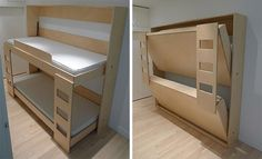 Folding Bunk Bed -hadn't thought of horizontal murphy beds.. one could work in the trailer if the wall side would slide up higher... with desk on back/bottome