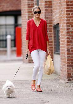 Olivia Palermo en rojo y blanco