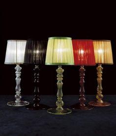 EtVoila Tavolo Piccola altezza 37cm Trasparente  Lampada da tavolo con base in vetro e diffusore in tessuto dello stesso colore del vetro.la lampada e disponibile in 10 colori differenti: trasparente, verde acido, azzurro, rosa, rosso, ambra, bianco, nero, blu, fucsia.