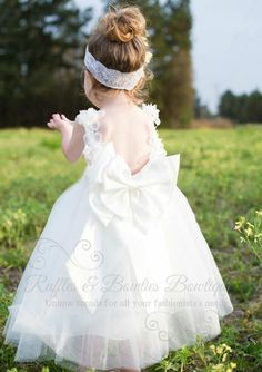 """Lacey"" Princess Dress - V Back Big Bow Flower Girl Dress - Lace Flower Girl Dress - Girls White Lace Flower Girl Dress - Ruffles & Bowties Bowtique - 1"