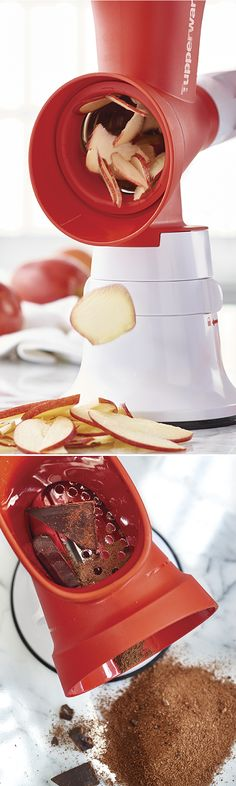 Grate Master® Shredder. Prepare quick fruit or veggie salads, appetizers, spring roll fillings, shredded cheese and other dishes and garnishes. Use the coarse cone for grating into larger pieces (adding big yum!) and the fine cone for shredding into small pieces (for hidden veggie recipes!).
