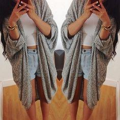jacket, shorts, cro, cardigan, oversized, highwaisted, crop top, oversized cardigan - Wheretoget
