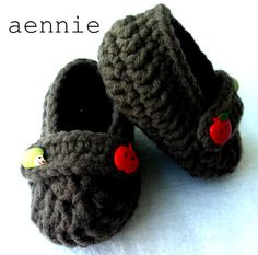 Crochet Toffee Apple Baby Booties - by aennie