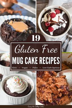 19 Gluten Free Mug Cake Recipes for Valentine's Day Whether you need an easy recipe for Valentine's Day or a busy Wednesday night, these 19 Gluten Free Mug Cake, Gluten Free Brownies, Gluten Free Baking, Gluten Free Desserts, Protein Mug Cakes, Mug Cake Healthy, Healthy Treats, Healthy Food, Healthy Recipes