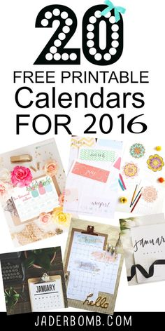 20 free printable calendars 2016 from MichaelsMakers Jaderbomb