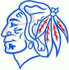 How to draw the Blackhawks logo