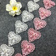15Yards 45mm Diy Handmade Patchwork Polyester Embroidered Heart Lace Ribbon With Beads White/Black/Pink Bow Lace Trim #Affiliate