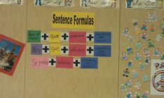 Use these Sentence Formulas to help your kids remember the components of sentences. These are made with construction paper. I plan to cover them up during tests, but other than that, I will leave them up through the year so that the students can use them on their writing.  This is a great activity! I'm also doing a Spanish 1 board next to this one. My 2s will benefit from this because they will get to review what they already know every single day! #SpanishClass