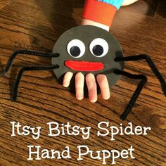 Itsy Bitsy Spider Finger Puppet for Fine Motor Play - Nursery rhyme crafts Nursery rhymes activities Rhyming activities Toddler crafts Nursery rhymes preschool Crafts - Nursery Rhyme Crafts, Nursery Rhymes Preschool, Preschool Crafts, Crafts For Kids, Crafts With Toddlers, Fall Toddler Crafts, Children Crafts, Rhyming Activities, Toddler Activities