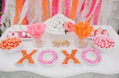 pink and orange candy buffet table     #candy  #pinkandorange #wedding