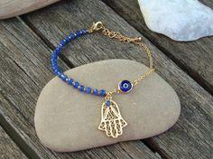 Sapphire Hamsa and Evil Eye Charm Bracelet by cocolocca on Etsy