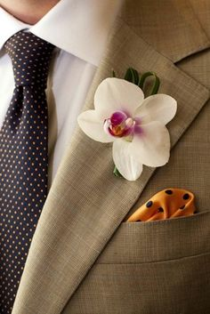 Groom's Orchid Boutonniere Photography: lunaphoto Read More… Orchid Boutonniere, Groomsmen Boutonniere, Groom And Groomsmen, Boutonnieres, Groom Suits, Groom Attire, Purple Orchids, White Orchids, Purple Orchid Wedding