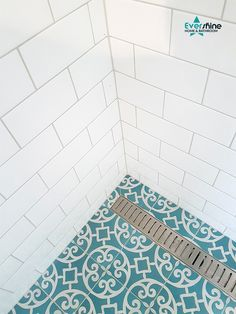Modern Classic with subway tiles on the wall and Southern Cross Ceramics Cassablanca tiles on the floor. These look like classic encaustic tiles but are closer to a regular porcelain. Other mod features like this stainless steel channel grate have been added. #retrobathroom #nomorescrubbing