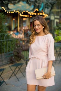 Elegant V Neck Long Sleeve Pink Dress Yves Saint Laurent Purse Look.