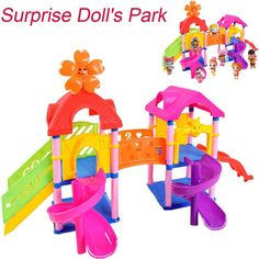 Hot Sale Princess Doll Park House Game Big Slide Playset Gift Toy for LOL Surprise Doll Develop intelligence dropship Princess Doll House, House Games, Cheap Dolls, Stacking Blocks, Birthday Gifts For Kids, Park Homes, Imaginative Play, Creative Thinking, Doll Accessories