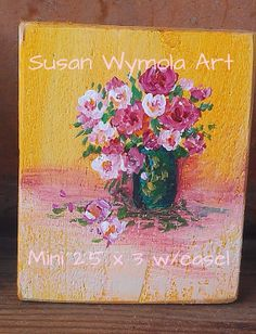 Mini Desk Art Acrylics Flowers Roses by SusanWymolaArt on Etsy, $22.00