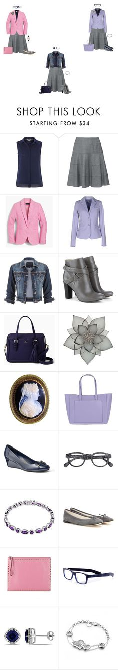 """""""Capsule Wardrobe: Navy Sleeveless Blouse and Grey Circle Skirt 2"""" by tracy-gowen ❤ liked on Polyvore featuring White Stuff, Paule Ka, J.Crew, Xandres, maurices, Sole Society, Kate Spade, Carolee, Coccinelle and Chaps"""
