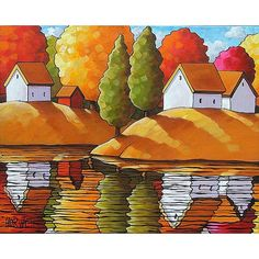 ORIGINAL PAINTING Folk Art Fall Cottage River by SoloWorkStudio