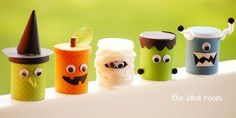 Decorate empty soup cans and use for holding candy! Could do the mummy, and/or pumpkin.