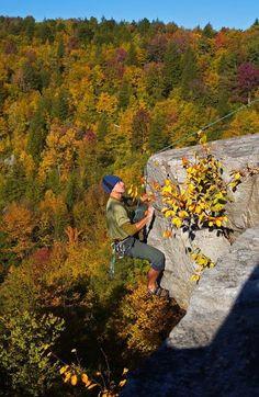West Virginia Department of Commerce Fall Foliage-Rock climbing in WV.