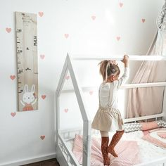 """There is nothing better than seeing a child grow up step by step … Kids Interior, Measuring Stick, Forest Animals, Growing Up, My Design, Toddler Bed, Children, Room, Diy"